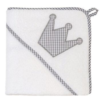 XL Kapuzenhandtuch Vichykaro grau Krone - personalisierbar mit Namen