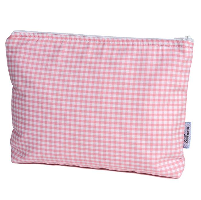 Kulturtasche Vichykaro rosa - personalisierbar mit Namen
