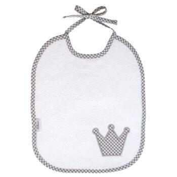 Lätzchen Vichykaro grau Krone - personalisierbar mit Namen