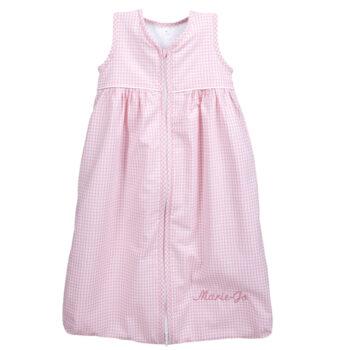 Schlafsack Vichykaro rosa - personalisierbar mit Namen