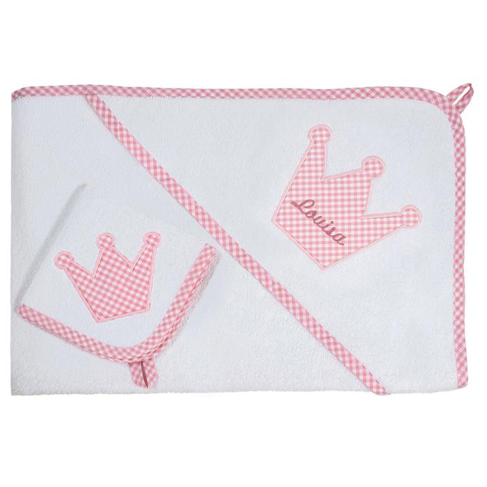 XL Kapuzenhandtuch - Set rosa Krone Vichykaro personalisierbar