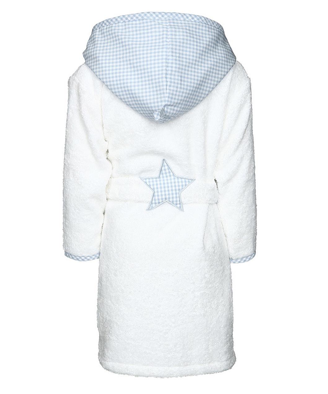 Bademantel Vichykaro hellblau Stern - personalisierbar mit Namen