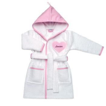 Bademantel Vichykaro rosa Herz- personalisierbar mit Namen
