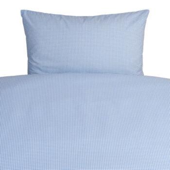 Gitterbett-Bettwäsche 100x135 Vichykaro hellblau personalisierbar mit Namen