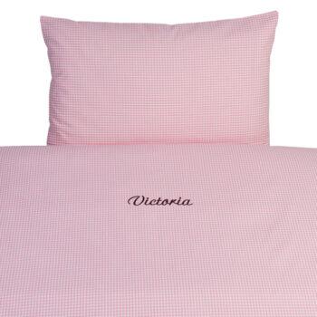 Gitterbett-Bettwäsche 100 x 135  Vichykaro rosa personalisierbar mit Namen