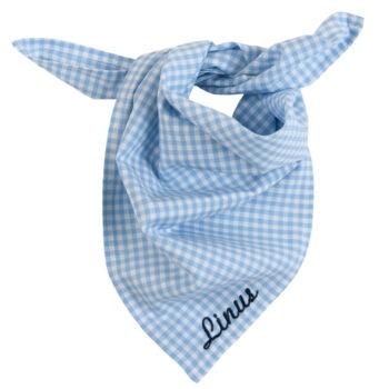 Halstuch Vichykaro hellblau - personalisierbar mit Namen