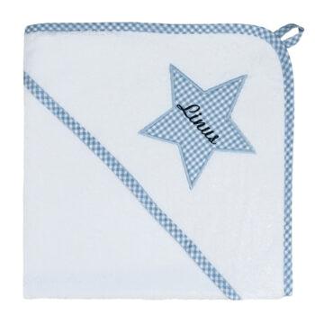 XL Kapuzenhandtuch Vichykaro hellblau Stern - personalisierbar mit Namen
