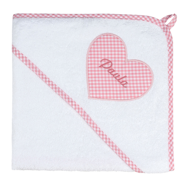 XL Kapuzenhandtuch Vichykaro rosa Herz - personalisierbar mit Namen
