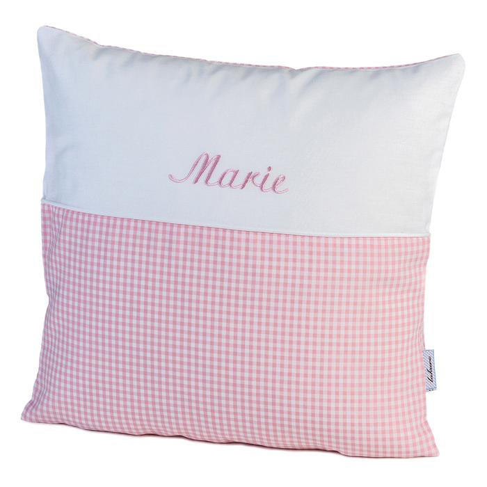 Kissen Vichykaro Nostalgie in rosa - personalisiert mit Namen