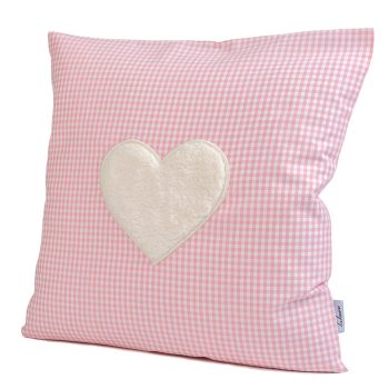 Kissen mit Kuschelmotiv Vichykaro rosa Herz - personalisierbar mit Namen