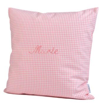 Kissen Vichykaro rosa - personalisiert mit Namen