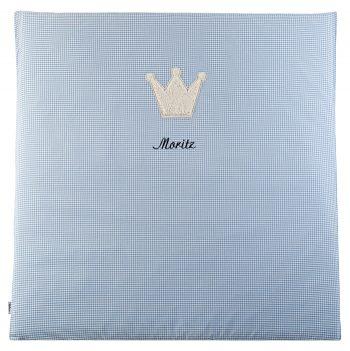 Krabbeldecke-Spielmatte Vichykaro hellblau Krone - personalisierbar mit Namen