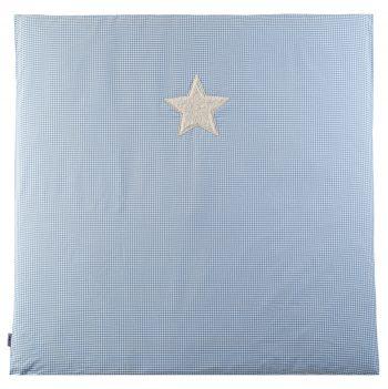 Krabbeldecke-Spielmatte Vichykaro hellblau Stern - personalisierbar mit Namen
