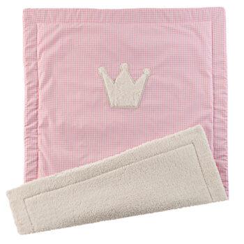 Kuschel-Babydecke Vichykaro rosa Krone - personalisierbar mit Namen