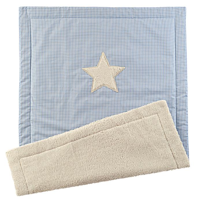 Kuschel-Babydecke Vichykaro hellblau Stern - personalisierbar mit Namen