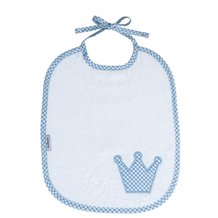 Lätzchen Vichykaro hellblau Krone - personalisierbar mit Namen