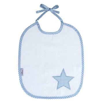 Lätzchen Vichykaro hellblau Stern - personalisierbar mit Namen