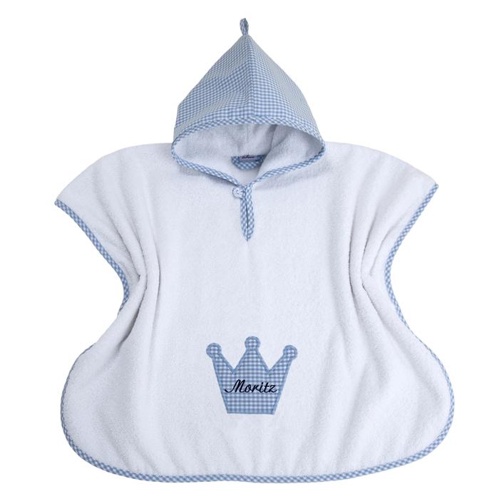 Bade-Poncho Vichykaro hellblau Krone - personalisierbar mit Namen