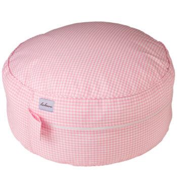 Sitzpouff / Sitzkissen in Vichykaro rosa - personalisierbar mit Namen