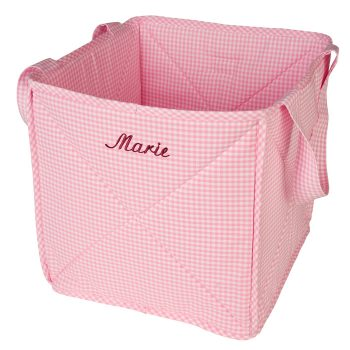 Spielzeugkorb / Spielzeugtasche Vichykaro rosa - personalisierbar mit Namen