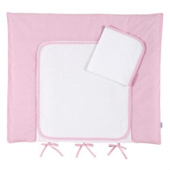 Wickelauflage-Frottee Vichykaro rosa personalisierbar mit Namen