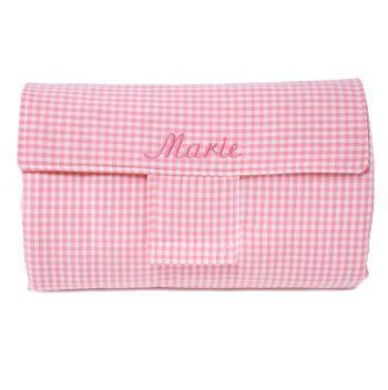 Reise-Wickelauflage Vichykaro rosa - personalisierbar mit Namen