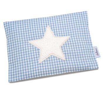 Wärmekissen Vichykaro hellblau Stern