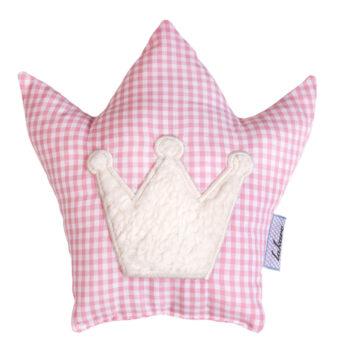 Feine Rassel Vichykaro rosa Krone