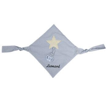 Schnullertuch Vichykaro hellblau Stern - personalisierbar mit Namen