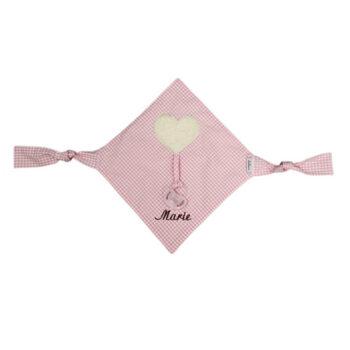 Schnullertuch Vichykaro rosa Herz - personalisierbar mit Namen