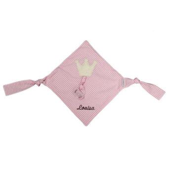 Schnullertuch Vichykaro rosa Krone - personalisierbar mit Namen