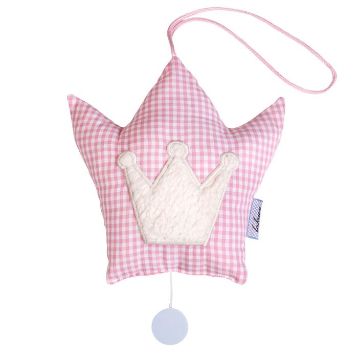 Feine Spieluhr Vichykaro Krone rosa