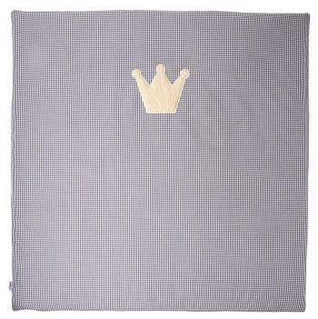 Krabbeldecke-Spielmatte Vichykaro grau Krone - personalisierbar mit Namen