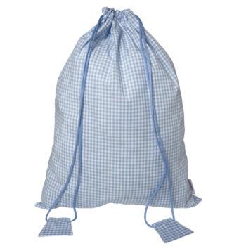 Turnbeutel Vichykaro hellblau - personalisierbar mit Namen