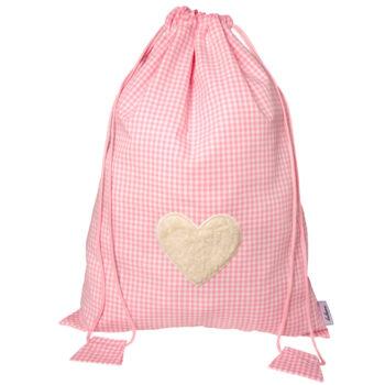Turnbeutel Vichykaro rosa Herz - personalisierbar mit Namen