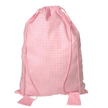 Turnbeutel Vichykaro rosa - personalisierbar mit Namen