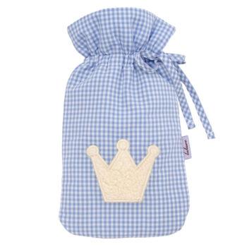 Wärmflasche Vichykaro hellblau Krone