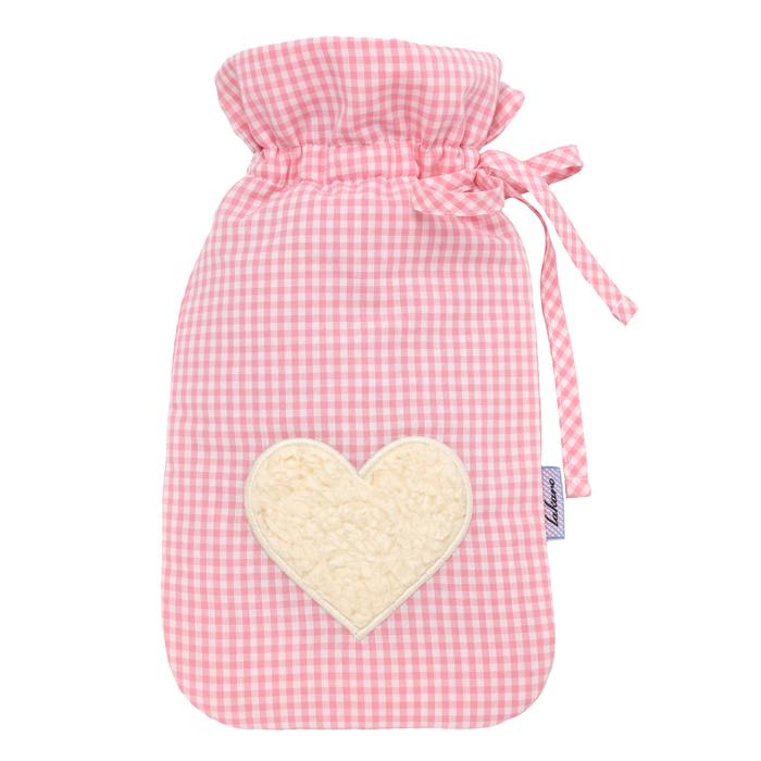 Wärmflasche Vichykaro rosa Herz